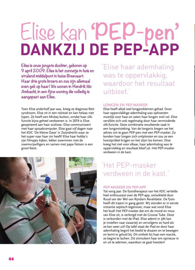 Artikel uit pRettpraat editie 59 genaamd: PEP masker training met de PEP app. Pagina 1