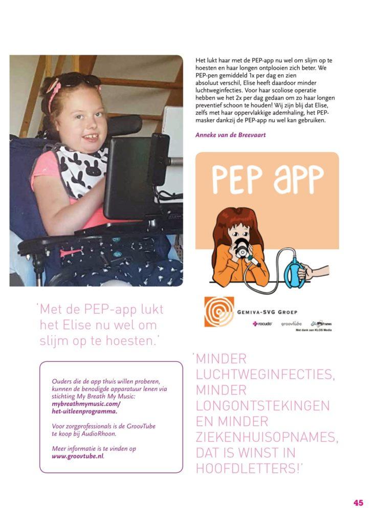 Artikel uit pRettpraat editie 59 genaamd: PEP masker training met de PEP app. Pagina 2
