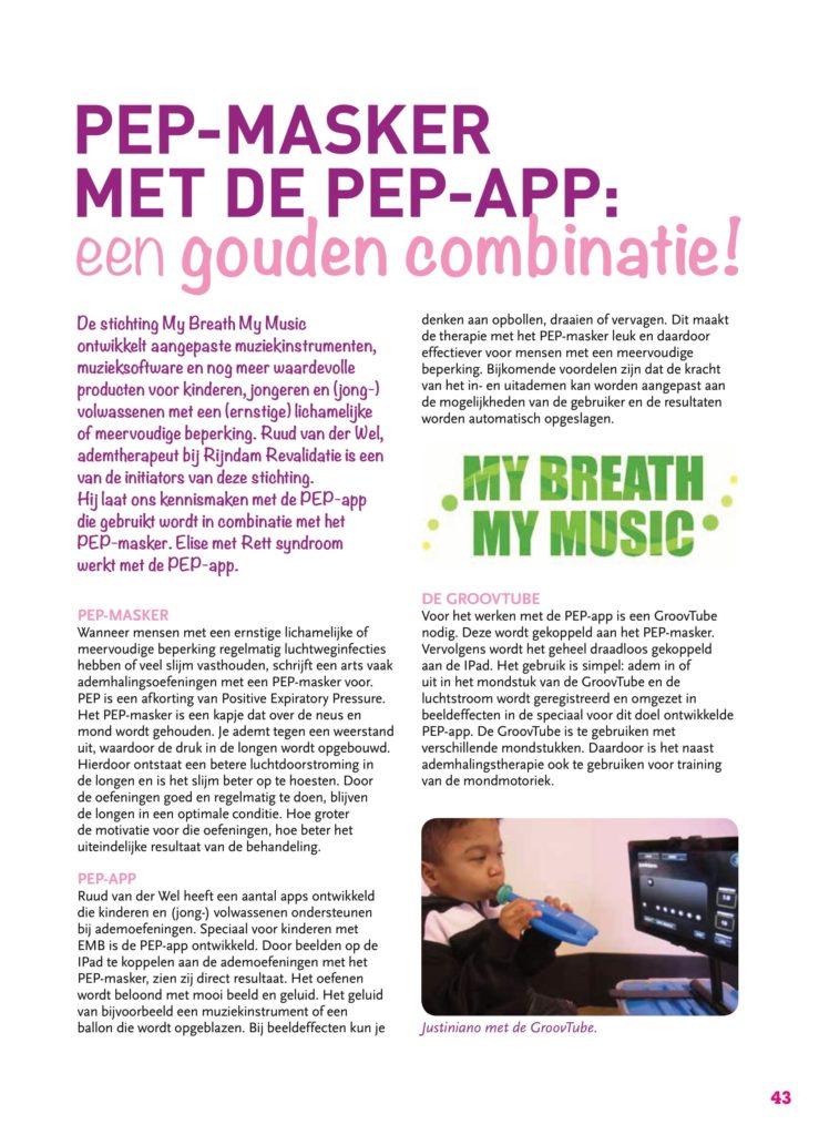 Artikel uit pRettpraat editie 59 genaamd: PEP masker training met de PEP app. Pagina 3
