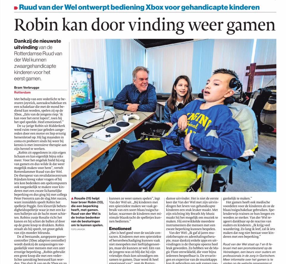 Algemeen Dagblad: Dankzij deze uitvinding kan gehandicapte Robin (14) weer gamen: 'Heel emotioneel'